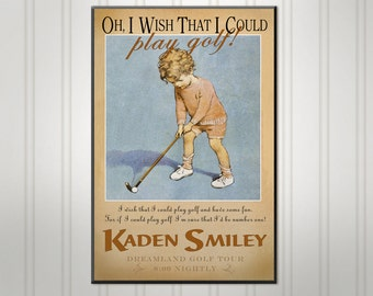 Personalized Childrens Room  Sign, Little Golfer, Custom Wood Sign,Personalized Sign, Personalized  Wall Decor