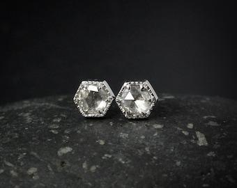 Hexagon Rose Cut Diamond Studs - Hand Milgrain - Diamond Stud Earrings, Geometric