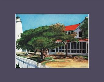 Ocracoke Lighthouse Print North Carolina Outer Banks beach coastal nautical matted artwork