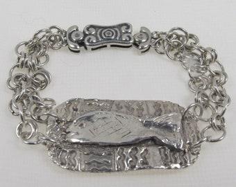 Silver PMC Fish Bracelet