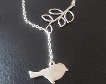 Vintage bird Leaf Silver assymetric necklace