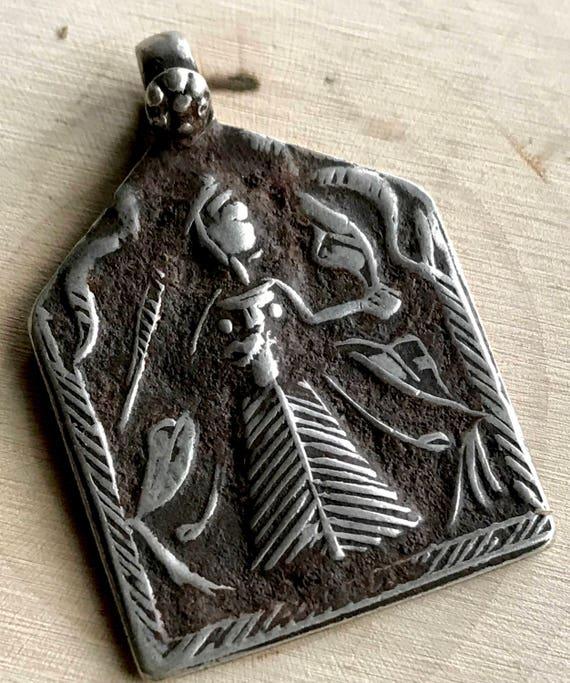 Lakshmi Rajasthan Pendant - Antique Lakshmi Amulet - Goddess of Prosperity & Wealth  - Hindu Lakshmi Pendant - Spiritual Gift -