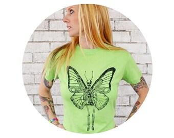 Butterfly Skeleton Tshirt, Flying Bones, Ladies Cotton Crew-Neck T Shirt, Screenprinted Top, Women's Clothing,  Apple Green, Day of the Dead