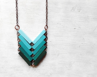 Wood Geometric Necklace | JUNGLE | Minimal Jewelry | Mint Turquoise Hand-Painted Necklace | Modern Necklaces | Chevron Necklace