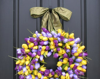 Purple Tulips Wreath Tulips Front Door Wreath Door Wreaths Yellow Spring Tulips Mother's Day Wreath Tulips Trending Wreaths