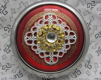 Miroir de poche rouge avec pochette de protection - miroir de poche cadeau - rond miroir compact de miroir compact cadeau - rouge - rouge cadeau-radiant de demoiselle d'honneur