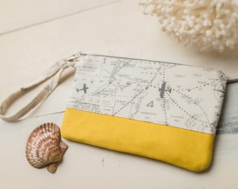 Small Katrina Pouch, Gray Chart and Yellow