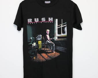 Rush Shirt Vintage tshirt 1985 Power Windows American Tour Concert tee 1980s Alex Lifeson Neil Peart Geddy Lee Hard Rock N Roll Heavy Metal