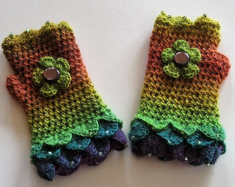Fingerless gloves. Crochet gloves. Wrist warmers. Eye catching and pretty. Crocheted and beaded. Own design. Unique.Lovely gift.