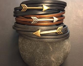 Metalic Leather and Arrow Wrap Bracelet - graphite, copper or gunmetal