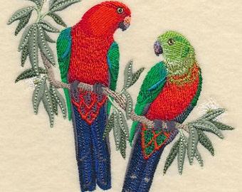 Australian King Parrots in Eucalyptus Tree Embroidered Flour Sack Hand/Dish Towel