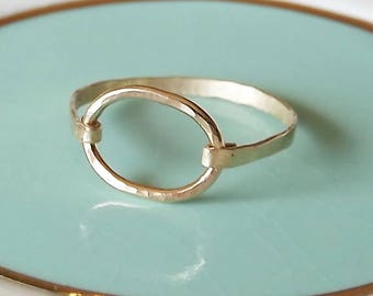 Hammered Oval Gold Filled Ring - Stacking Rings - Gold Ring - Gold Band - Oval Ring