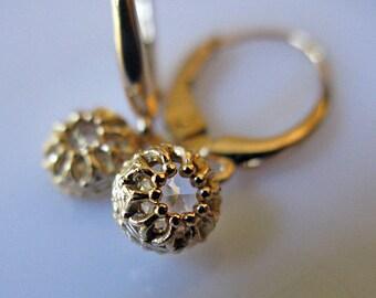 Valentines Day Genuine Diamond Earrings diamond drop earrings Lever Back Bridal Jewelry Anniversary Wedding Jewelry Rose Cut Diamond 14k Gol