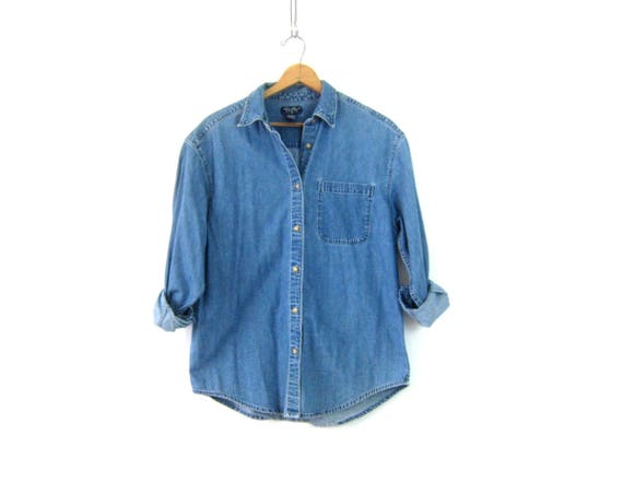 Vintage Jean shirt Worn In button down Oversized Denim Boyfriend Shirt 90s Women's Preppy Eddie Bauer Work Shirt Size Large