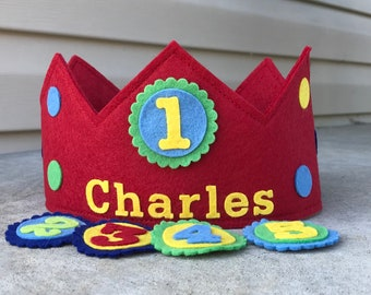 Birthday Crown with interchangeable numbers, wool felt crown, personalized crown