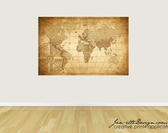 World Map Fabric Wall Decal, Wall Art, Map Wall Sticker, World Map