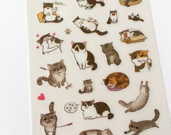 Kawaii Cat Stickers, Cat Planner Stickers, Diary Stickers, Card Embellishment, Korean Stickers, Tiny Craft Stickers, Scrapbooking Supply