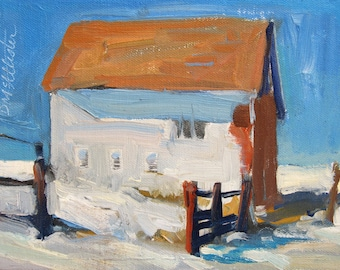 Barn in Snow, blue sky, white barn with a fence and shadows in the snow affordable gift