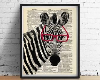 ZEBRA Wearing Red Glasses Art Print Poster, Safari Animal Poster, Black and White Animal Print, Vintage Dictionary Page Art Dorm Nursery