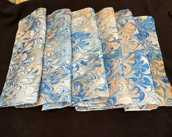 Blue, Peach Marbled Silk Scarf Set