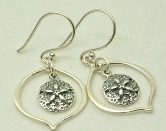 Sterling Silver Sand Dollar Earrings, Sand Dollar Jewelry. Ocean Earrings, Beach Earrings, Beach Jewelry, Nautical Earrings, for Beach Lover