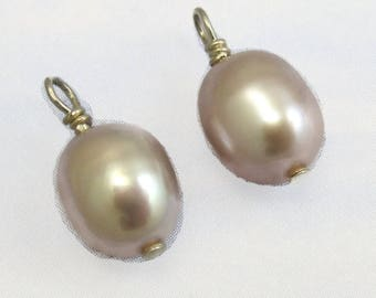 Pink Pearl Drop Beads 2 Sterling Silver Pink Fresh Water Pearl Stones B-40