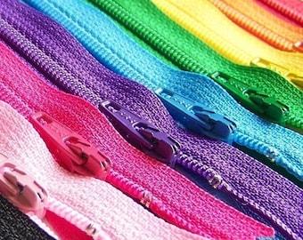 12 Inch Ykk Zipper Rainbow Sampler Pack 10 pcs red orange yellow green blue purple pink black white