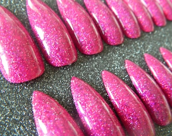 Dark Pink Holographic Glitter Extra Long Stiletto Nails