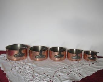 TOURNUS,  5 Copper Saucepans, 2mm Thick Tin Lined Copper Pans with Cast Iron Handles, Vintage French Copper Pots,