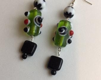 Whimsical Glass Bead Dangling Fish Hook Earrings