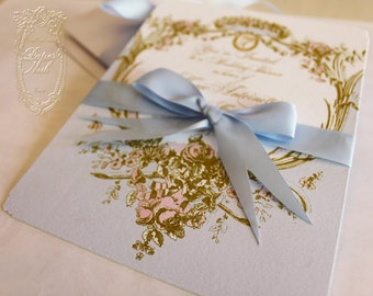 Marie Antoinette Bleu Cameo Silhouette Wedding or Event Invitations Blue and Gold with Hand Painted Pink Roses Invitations