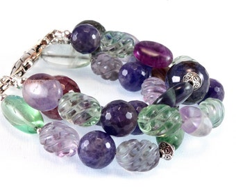 Amethyst Bracelet - Rainbow Fluorite and Agate Bracelet - February Birthstone - Three Strand Bracelet - Gemstone Bracelet