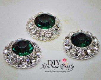 5 pcs Emerald Green Crystal Buttons  Metal Flatback Rhinestone Buttons - Headband Supplies - flower centers - Scrapbooking 18mm 795038