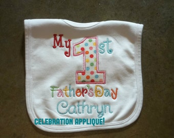 My First Father's Day Bib, First Father's Day, My First Father's Day, Holiday Bib, Baby Shower Gift