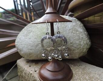 Ethnic earrings, Bohemian earrings, Boho earrings, Tribal earrings, Silver dangle earrings, Bell earrings, UK Seller