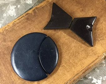 Two Art Deco Black Belt Buckles 1920's 1930's Round Bow Tie Shapes Silver Tone Metal Hardware Celluloid Woman's Wear Unsigned Feminine