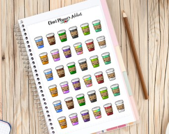 Kawaii Coffee Planner Stickers | Coffee Stickers | Takeaway Coffee | Kawaii Stickers (S-093)