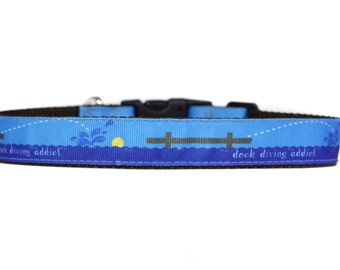 Dock Diving Addict Dog Sport 1 Inch Wide Dog Collar with Adjustable Buckle or Martingale in an Exclusive Design