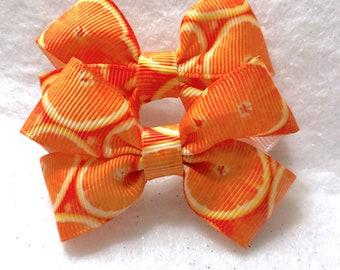 Girly Sweet Orange Bow Set