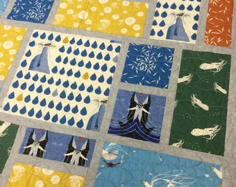 Charley Harper Nautical quilt, child's quilt, throw quilt, lap quilt