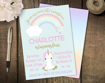 Unicorn Party, Unicorn Invitation, Unicorn Birthday, unicorn birthday invitation, Gold Sparkle Unicorn, gold glitter unicorn, pastel rainbow