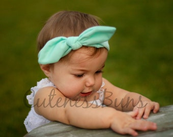 Baby Headband, Baby Girl Headband, cotton headband, Mint Headband, Baby Bows, Knot Headband, Girl Headband, Knot Bow, Floral Headband, Baby