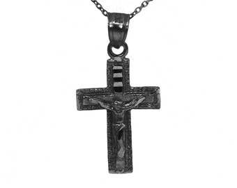 925 Black Sterling Silver Crucifix Necklace