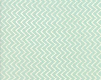Coney Island Fabric Aqua Fig Tree Fabric Aqua Chevron Quilting Fabric By The 1/2 Yard