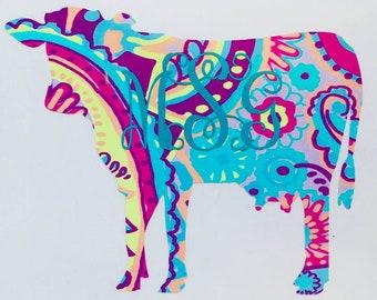 Cow Monogram Vinyl Decal Sticker Die Cut Custom Car Window Laptop Tumbler Water Bottle Bumper - Farm, Ranch - You Choose Size and Colors