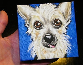 Custom Pet Portrait Painting 4x4 - handpainted
