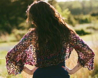 Sari Silk Shrug pattern - PDF knit pattern - summer knit pattern - boho knit pattern - instant download