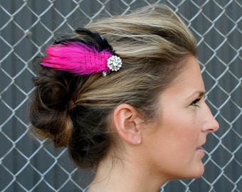 Pink Feather Clip - Hot Pink and Black Feathers with French Veil and Swarovski Crystal Accent