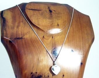 Vintage Sterling Silver Heart Locket Necklace, Silver Locket Necklace, Heart Necklace, Sweetheart Pendant Locket, Engraveable, New Old Stock