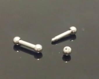 "14g Barbell 1/4"" 6mm 3mm Balls, Straight Barbells, Sold Single, Septum, Helix, Cartilage, Tragus, Ear"